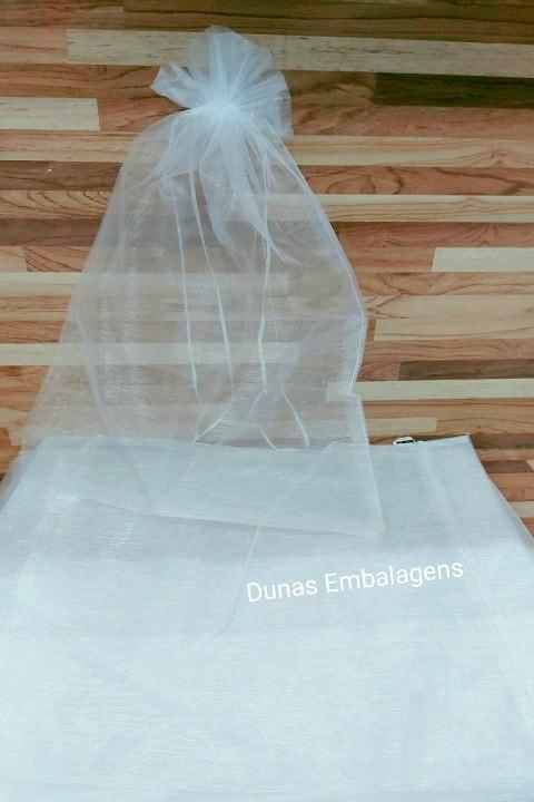 Saco de Organza 30x40 Branco pacote com 100 unidades