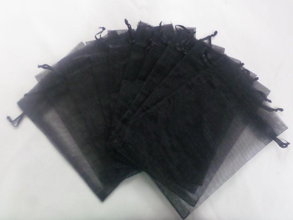Saco de Organza 30x40 Preto pacote com 100 unidades