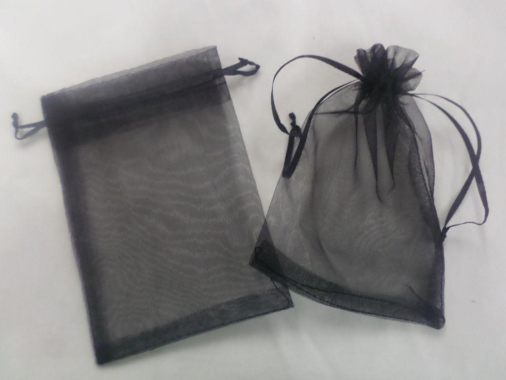 Saco de Organza 30x40 Preto pacote com 10 unidades