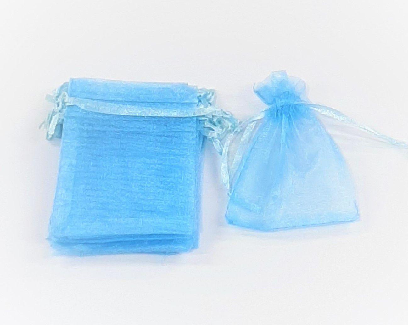 Saco de Organza 7x9 Azul com 100 unidades