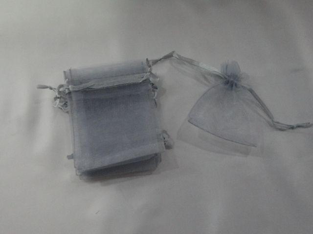 Saco de Organza 7x9 Cinza pacote com 10 unidades