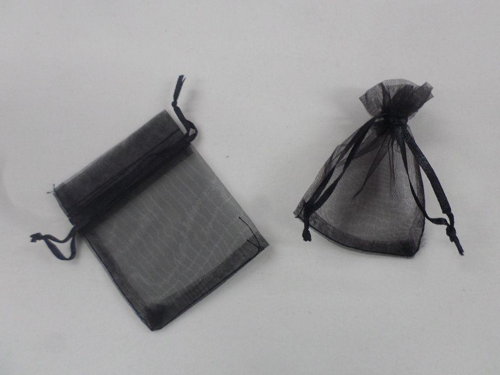 Saco de Organza 7x9 Preto pacote com 10 unidades