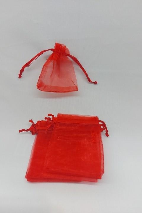 Saco de Organza 7x9 Vermelho pct com 100 unidades