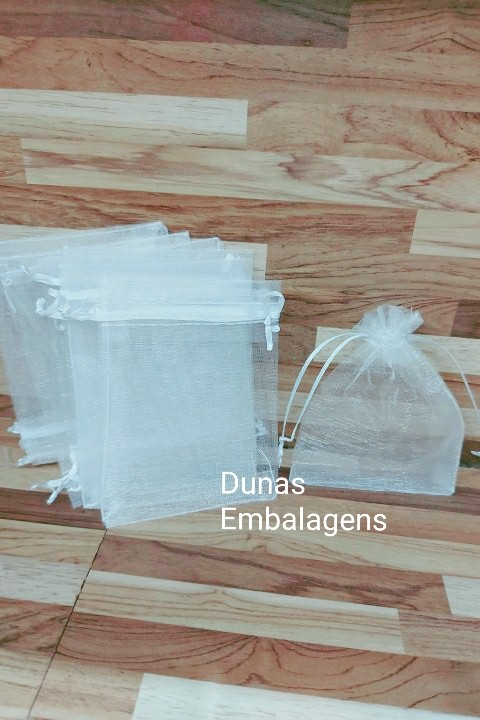 Saco de Organza 9x12 Branco  pacote com 100 unidades