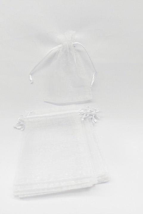Saco de Organza 9x12 Branco  pacote com 10 unidades