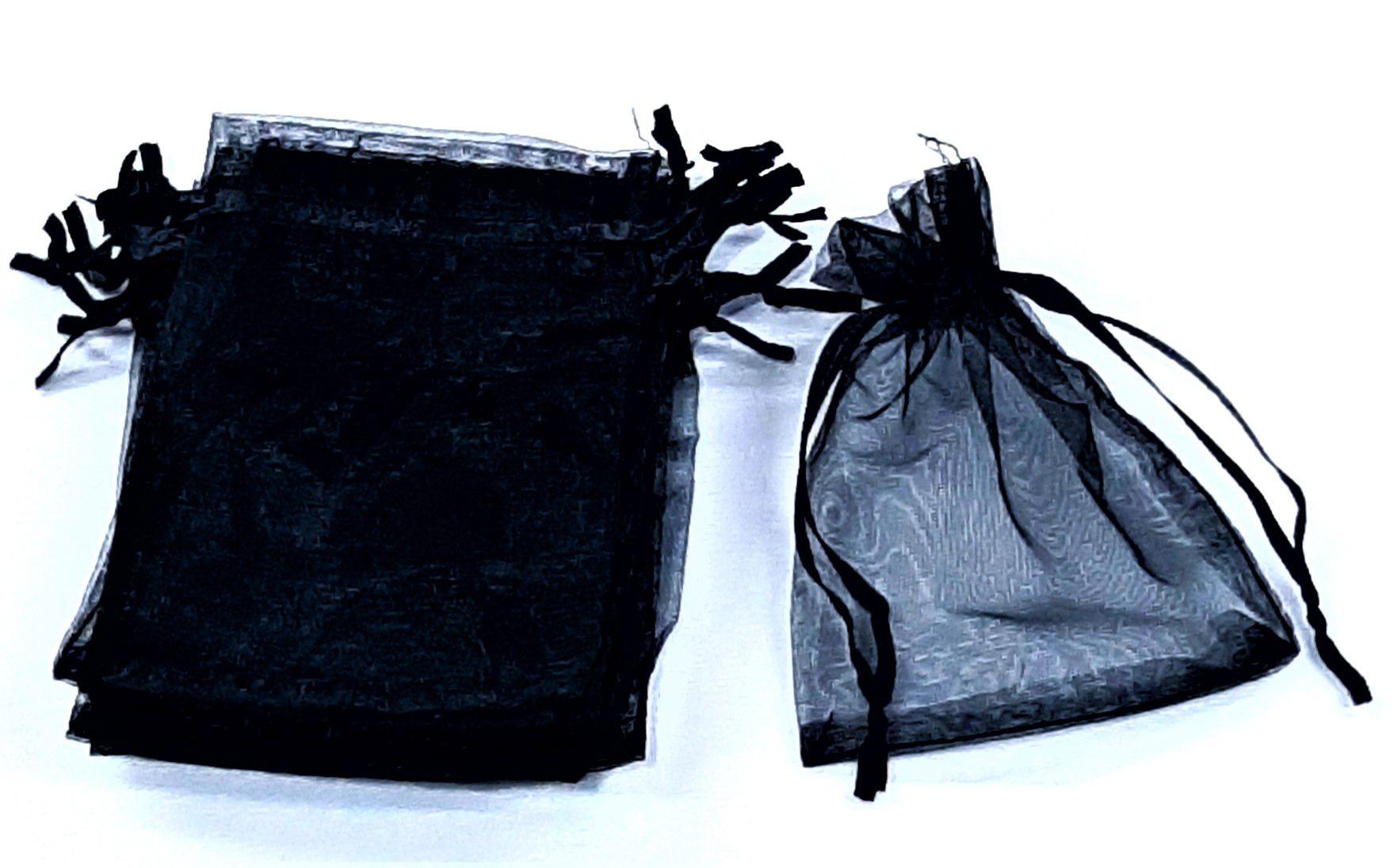 Saco de Organza 9x12 Preto  pacote com 100 unidades