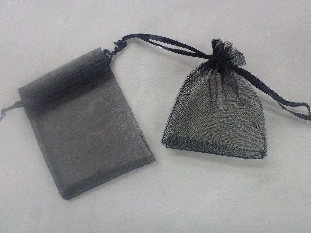 Saco de Organza 9x12 Preto  pacote com 10 unidades
