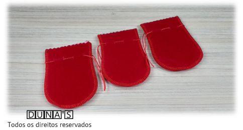 Saco de Veludo VERMELHO ( 6X7 - área útil ) PCT C/10 UNIDADES