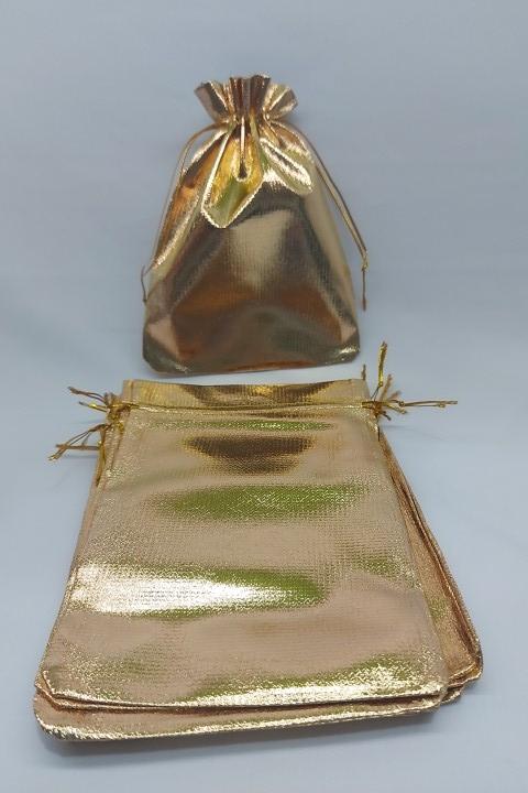 Saco Lame 15x20 Dourada  pacote com 10 unidades