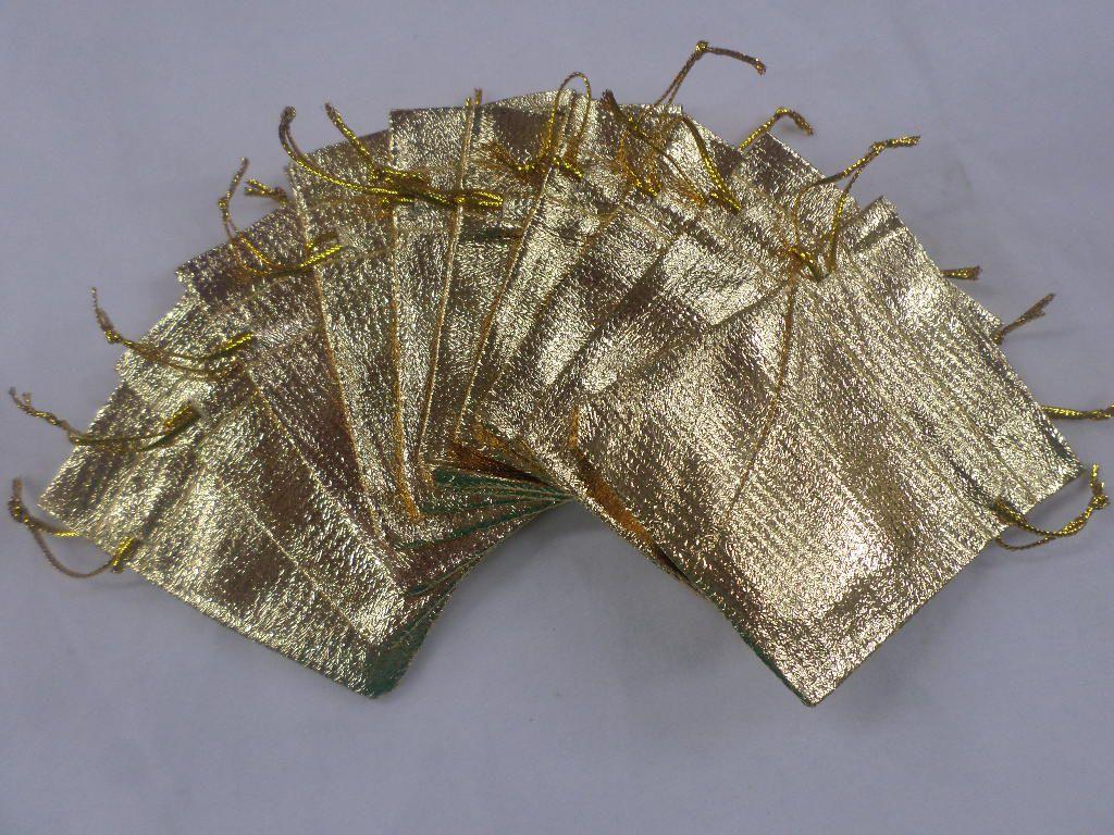 Saco Lame 8x10 Dourado pacote com 100 unidades