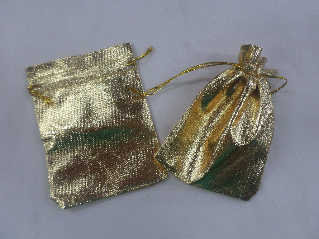 Saco Lame 9x12 Dourado pacote com 10 unidades