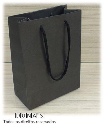 Sacola de Papel PRETO 15X20X7.5 ( pacote com 10 unidades )