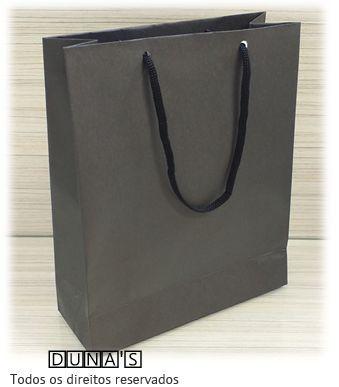Sacola de Papel PRETO 20X25X8 ( pacote com 10 unidades )
