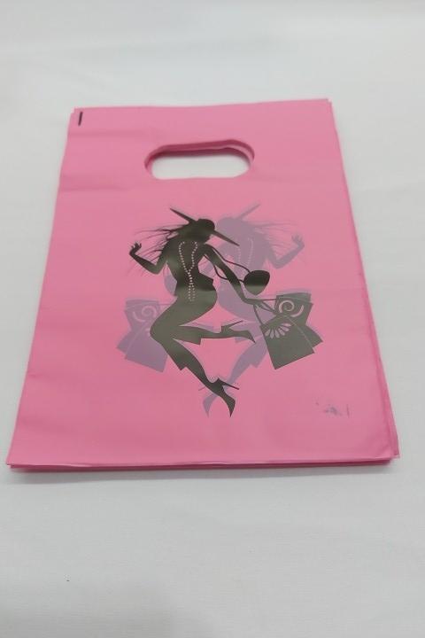 Sacola Plástica 15x20 Rosa / moça com alça