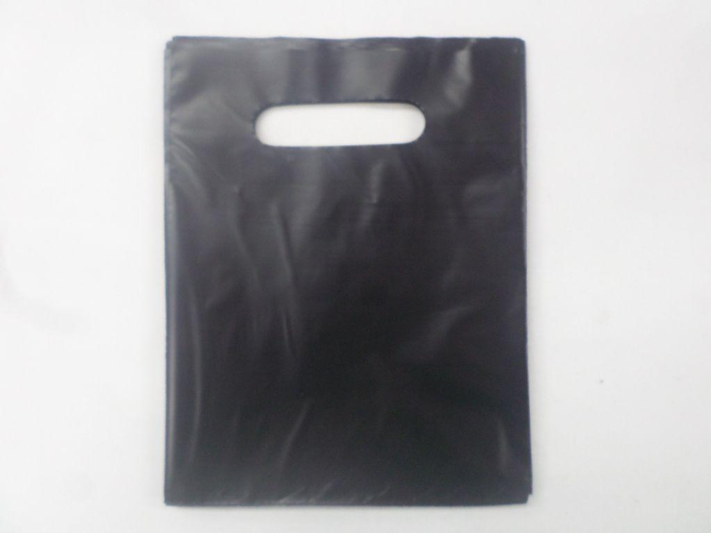 Sacola Plástica 16x20 PRETO  ( pacote com 25 unidades ) alça boca de palhaço