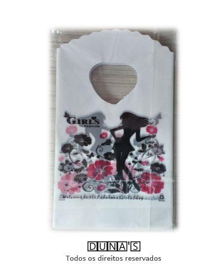 Sacola Plástica ( branca girls fashion ) 9x15 pacote com 100 unidades