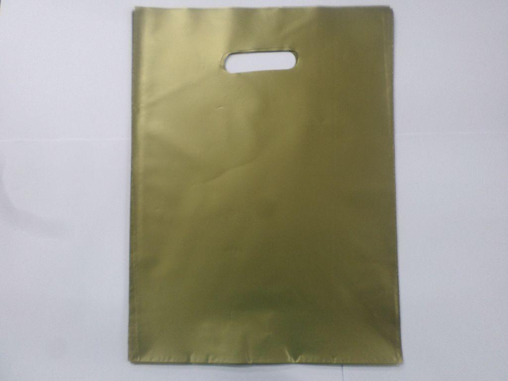 Sacola Plástica DOURADO 30x40 -alça boca de palhaço