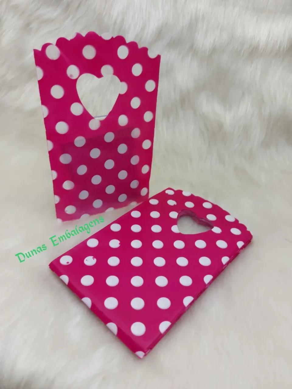 Sacola Plástica ( Pink bolinhas brancas  ) 9x15 pacote com 100 unidades