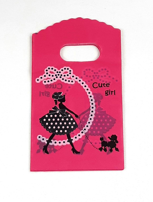 Sacola Plástica ( Pink Cute Girl  ) 9x15 pacote com 100 unidades
