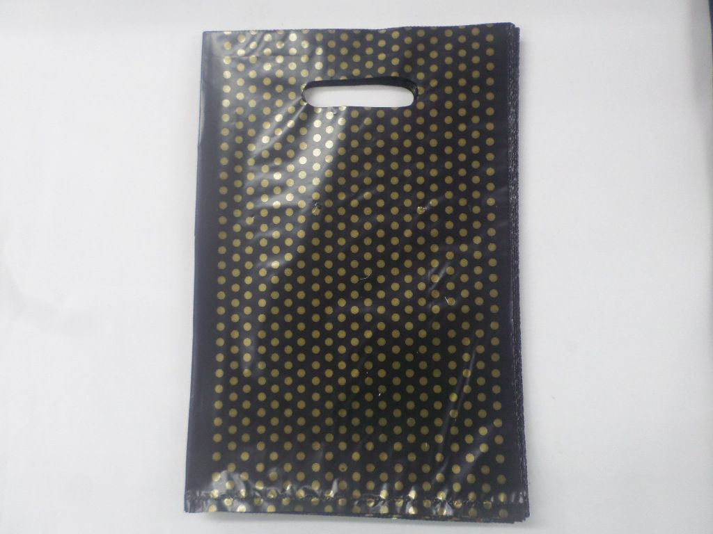 Sacola Plástica Preta com Bolinha Dourada 20x30