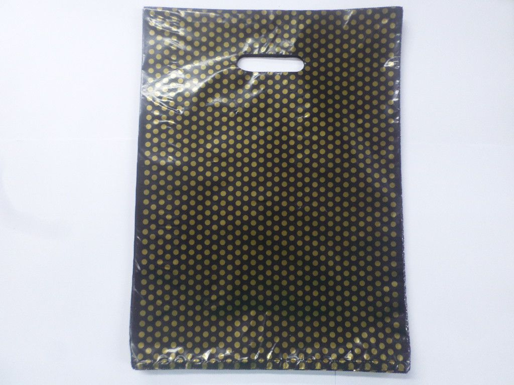 Sacola Plástica Preta com Bolinha Dourada 30x40