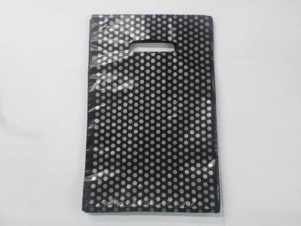 Sacola Plástica Preta com Bolinha Prata 20x30