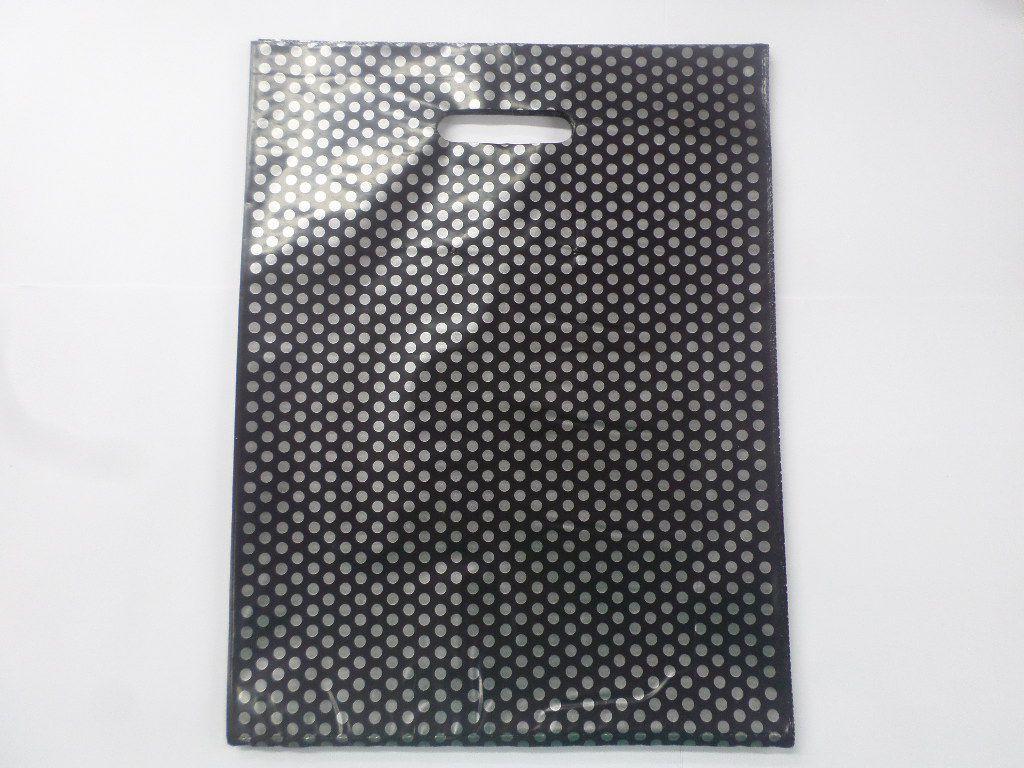 Sacola Plástica Preta com Bolinha Prata 30x40