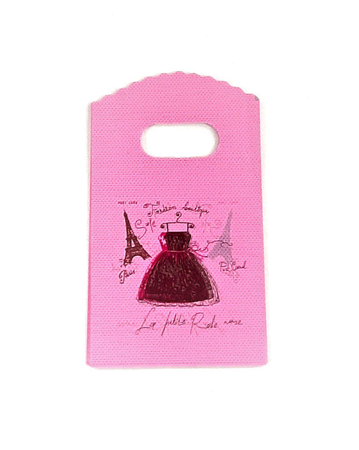 Sacola Plástica ( Rosa - vestido   ) 9x15 pacote com 100 unidades