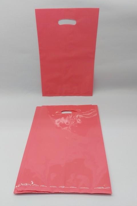 Sacola Rosa  pct c/10 unidades 16.5x 25 cm - plática