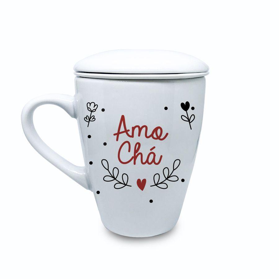 Caneca Infusora Porcelana Amo Chá
