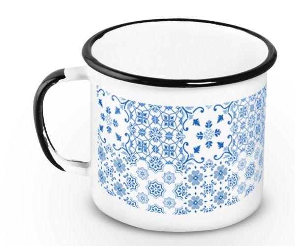 Caneca Retrô Esmaltada Azulejo