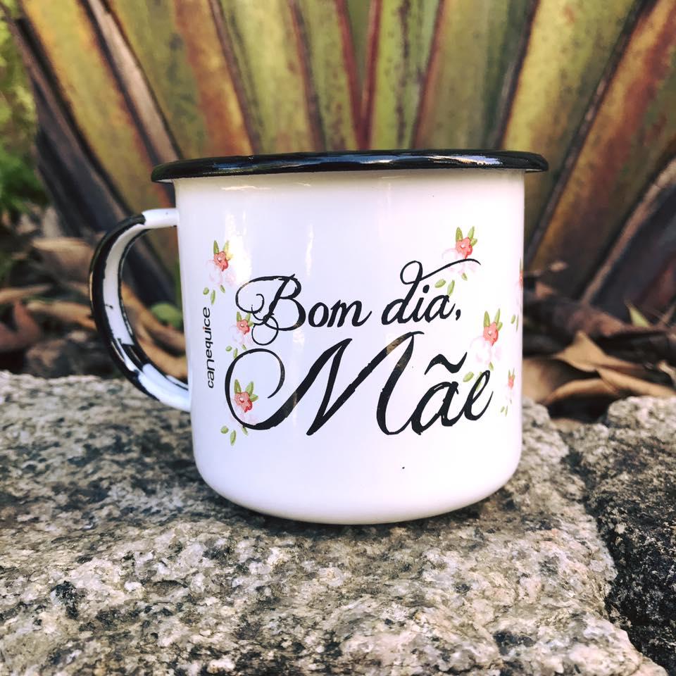 Caneca Retrô Esmaltada Bom dia, Mãe.
