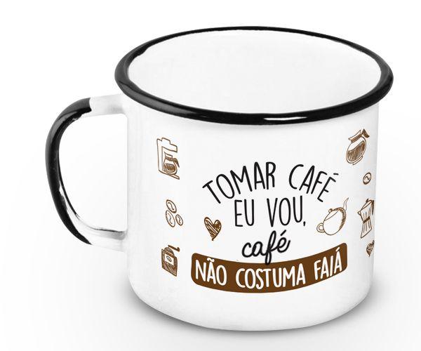 Caneca Retrô Esmaltada Café Faiá