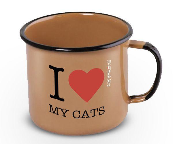 Caneca Retrô Esmaltada Love Cats
