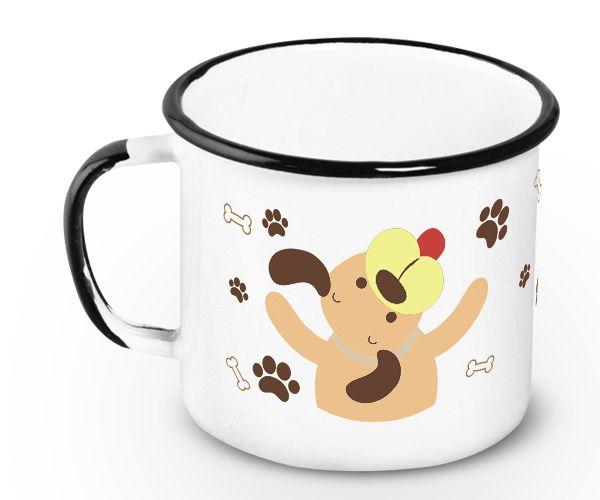 Caneca Retrô Esmaltada Love Dogs