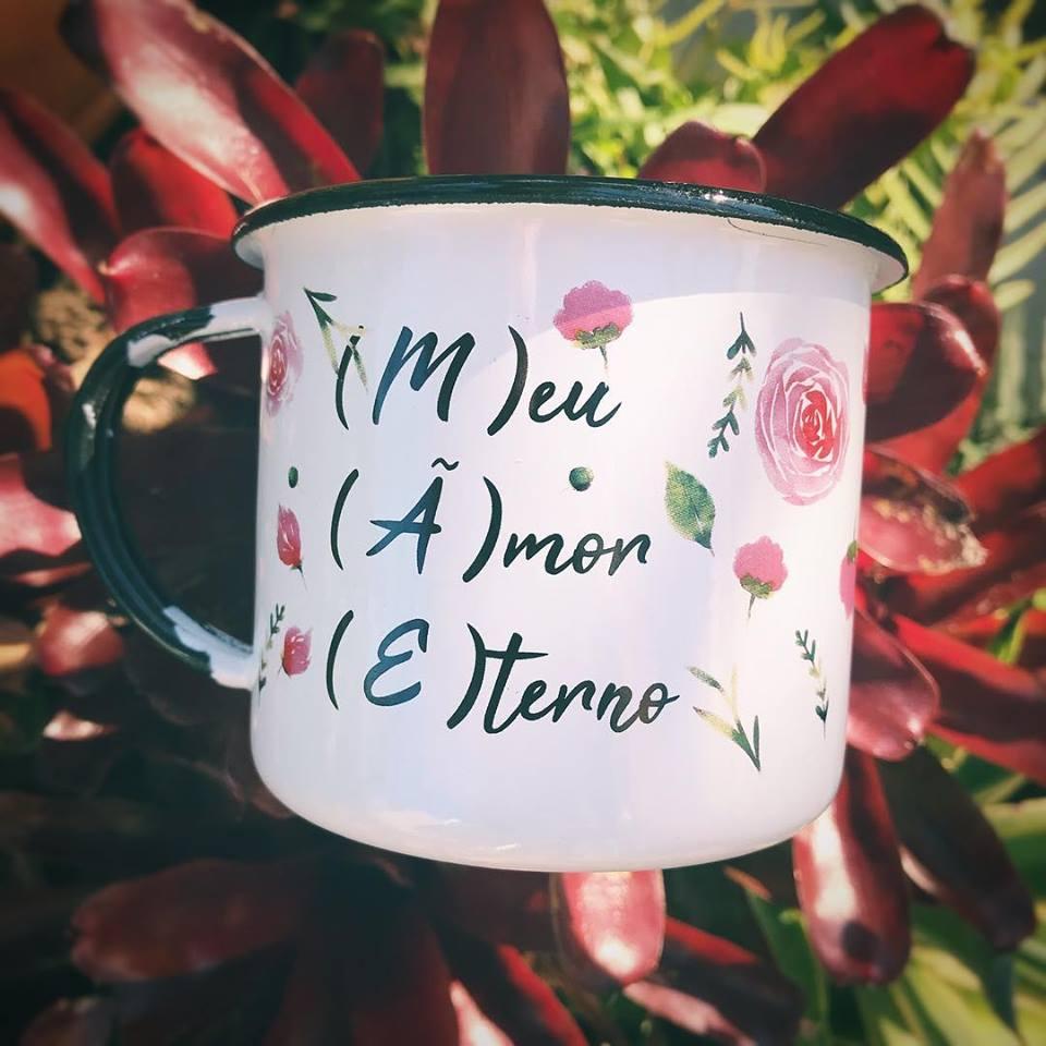 Caneca Retrô Esmaltada Mãe, Amor Eterno