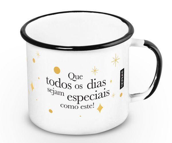 Caneca Retrô Esmaltada Parabéns