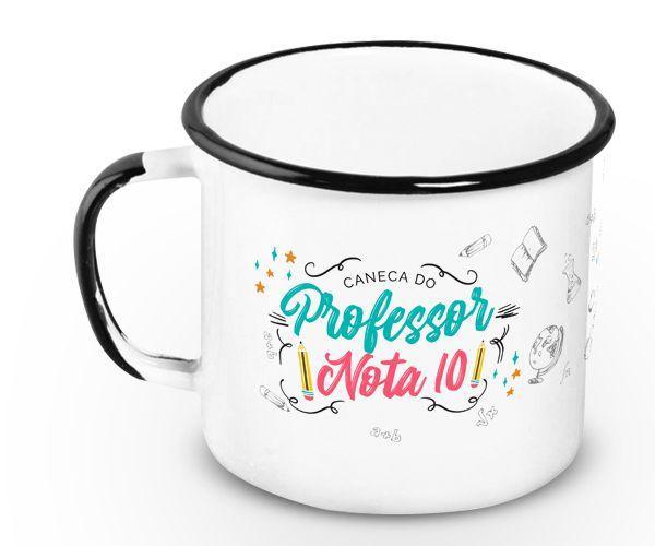 Caneca Retrô Esmaltada Professor
