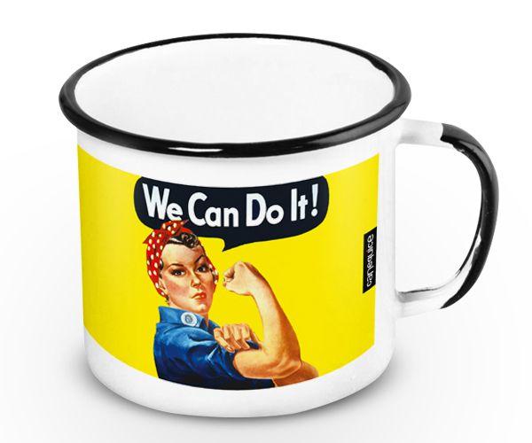 Caneca Retrô Esmaltada We Can Do It!