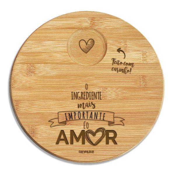 Kit Petisqueira Bambu Redonda Tempero de Amor