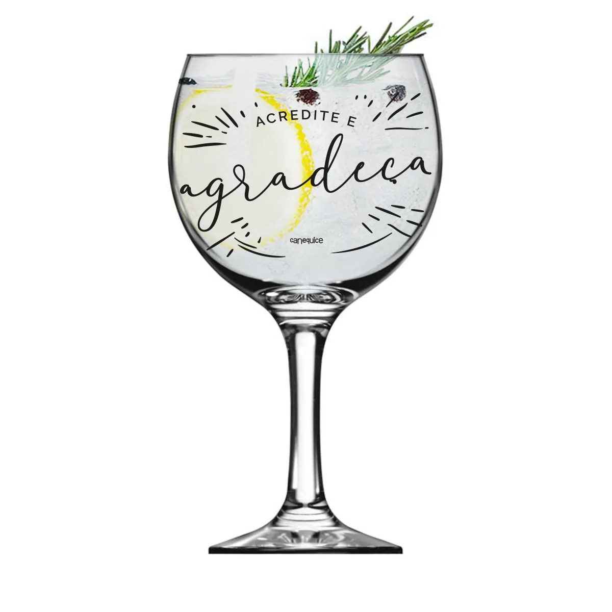 Taça Vidro Gin 600 ml Gratidão