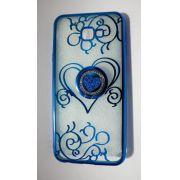 Capinha p/ Celular Samsung Galaxy J4 PLUS Azul Coração com Pop - Plástico Maleável Resistente