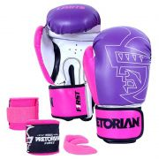Kit Luva Boxe Muay Thai First Rosa Bandagem Bucal Pretorian