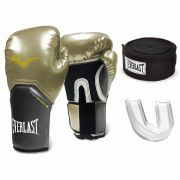 Kit Luva Boxe Pro Style Elite Gold Bandagem Bucal Everlast