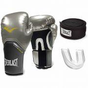 Kit Luva Boxe Pro Style Elite Prata Bandagem Bucal Everlast