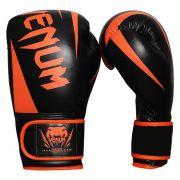 Luva de Boxe New Challenger Preto com Laranja 100% Couro Sintético Venum