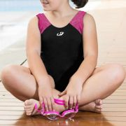 Maiô Kids Nadador de Helanca Funny Preto c/ Rosa - Hammerhead