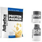 Protein Premium 850g + BCAA 2:1:1 + Creatine 100% Pure 50g - Atlhetica Nutrition