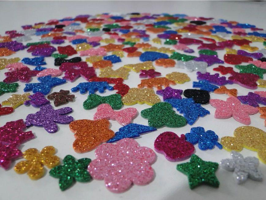 200 Adesivos Pet Piercings Lacinhos Eva Com Glitter Para Petshop Cães E Gatos Banho E Tosa