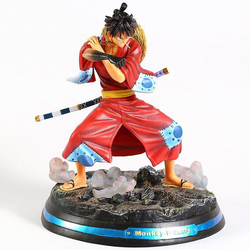 Action Figure Wano Luffy Chapéu de Palha Colecionável  - 27cm